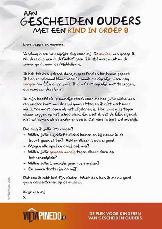 Brief aan gescheiden ouders met kind in groep 8